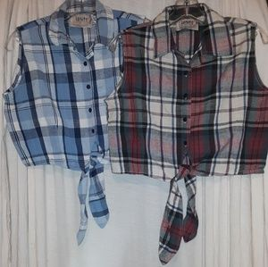 Country style button down crop tops.